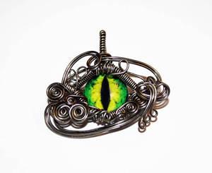 Wire Wrap Evil Green Dragon Eye Pendant