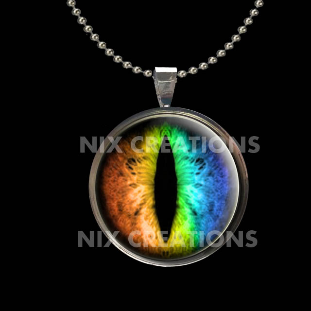 Rainbow Dragon Eye Pendant with Necklace by Create-A-Pendant