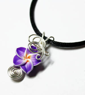 Wire Wrap Violet Plumeria Perfume Pendant