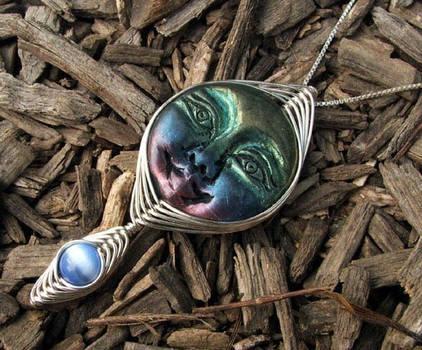 Wire Wrap Moon Goddess Pendant