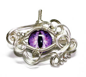 Purple Wire Wrap Glass Dragon Eye Pendant 2 by Create-A-Pendant