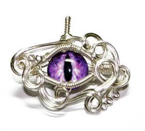 Purple Wire Wrap Glass Dragon Eye Pendant 2