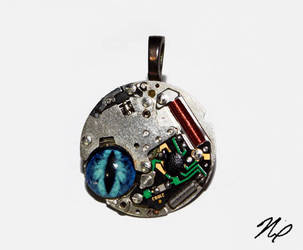 Ghost in the Machine Blue Evil Eye Pendant by Create-A-Pendant