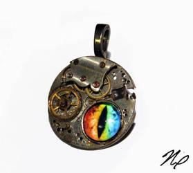 Ghost in the Machine Rainbow Dragon Eye Pendant by Create-A-Pendant