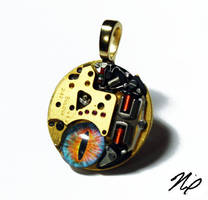 Ghost in the Machine Altered Art Pendant