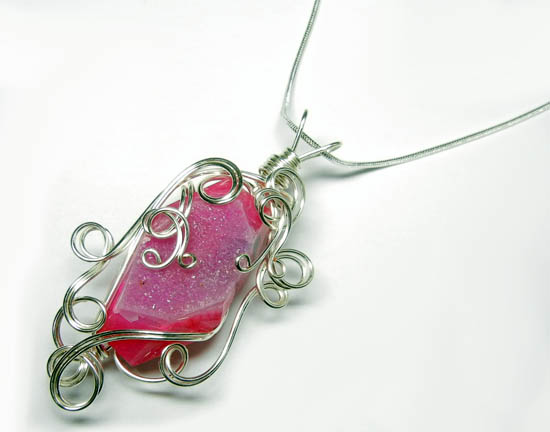 Pink Wire Wrap Druzy Pendant by Create-A-Pendant