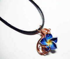 Tropical Flower Wire Wrap Perfume Pendant