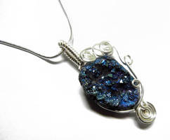 Wire Wrap Blue Druzy Pendant