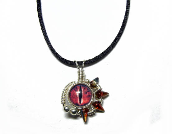 Wire Wrap Red Evil Dragon Eye Pendant By Create A Pendant On