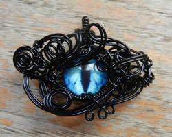 Black Wire Wrap Blue Glass Dragon Eye Pendant