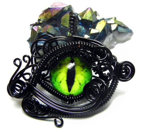 Black wire wrap green glass dragon eye pendant by create a pendant mozeypictures Image collections