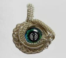 Custom Wire Weaved Glass Eye Pendant