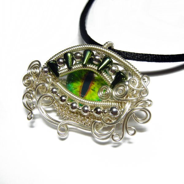Wire Wrap Glass Dragon Eye Pendant by Create-A-Pendant on DeviantArt