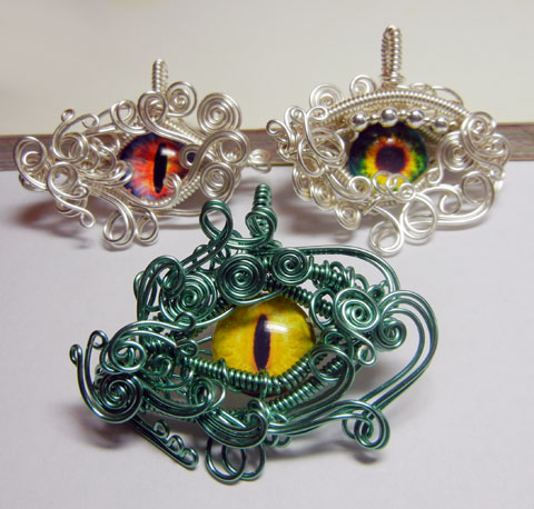 New Wire Wrap Glass Eye Pendants by Create-A-Pendant