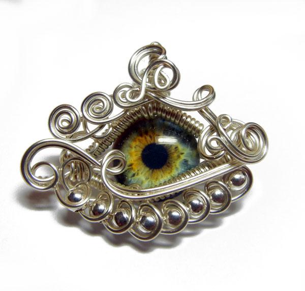 Wire Wrap Blue Human Eye Pendant by Create-A-Pendant