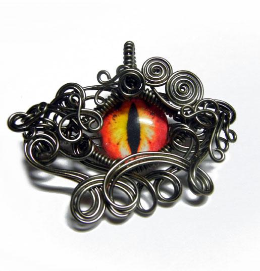 Gunmetal Wire Wrap Glass Dragon Eye Pendant by Create-A-Pendant