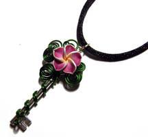 Wire Wrap Plumeria Perfume Key Pendant by Create-A-Pendant