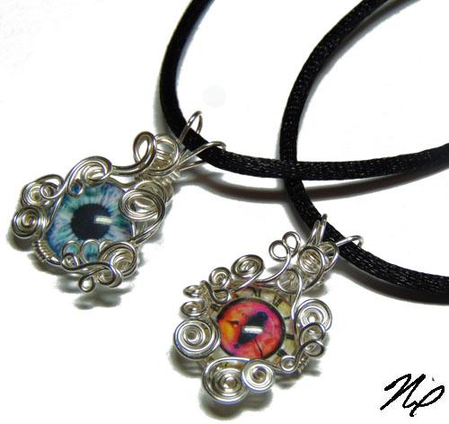 Wire Wrap Glass Eye Pendants by Create-A-Pendant