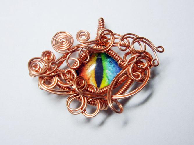 Copper Wire Wrap Glass Dragon Eye Pendant by Create-A-Pendant