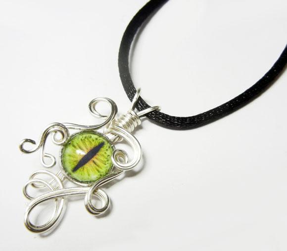 Wire Wrap Glass Dragon Eye Pendant by Create-A-Pendant