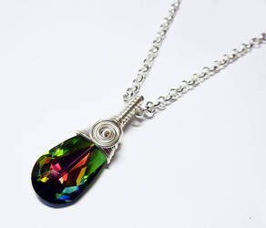 Wire Wrap Rainbow Swarovski  Briolette Necklace by Create-A-Pendant