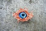 Copper Wire Wrap Glass Zombie Eye Hat Lapel Pin by Create-A-Pendant