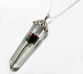 Mini Rose Resin Crystal Pendant with Necklace