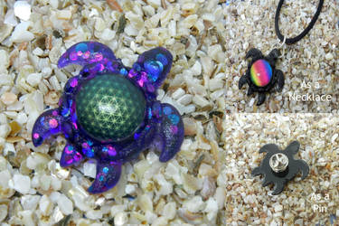 Resin Flower of Life Turtle Necklace