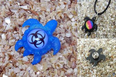 Glow in the Dark Biohazard Resin Turtle Pendant