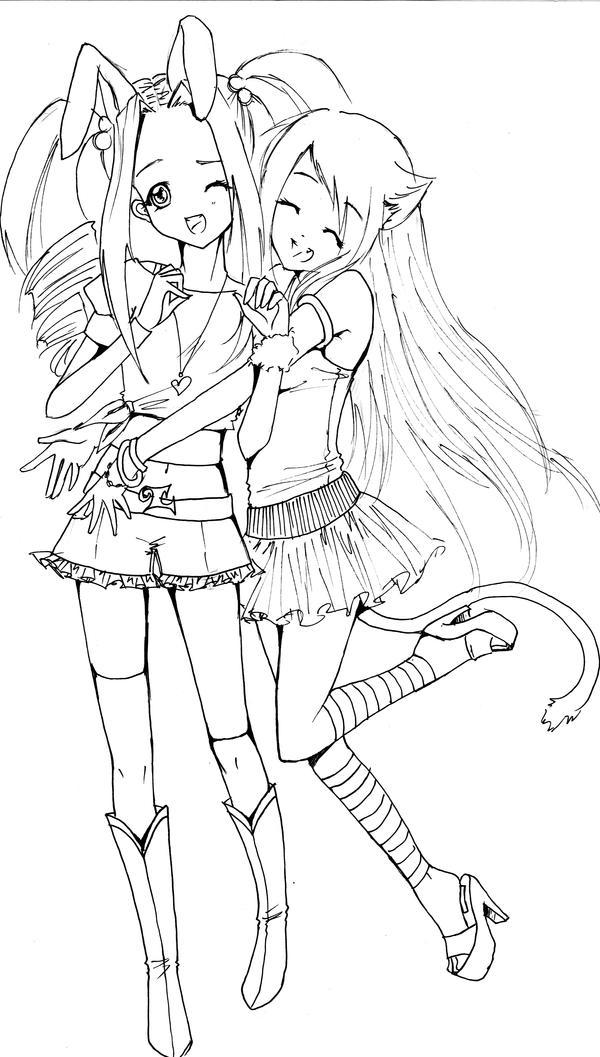 Hugs - Lineart by bunnify