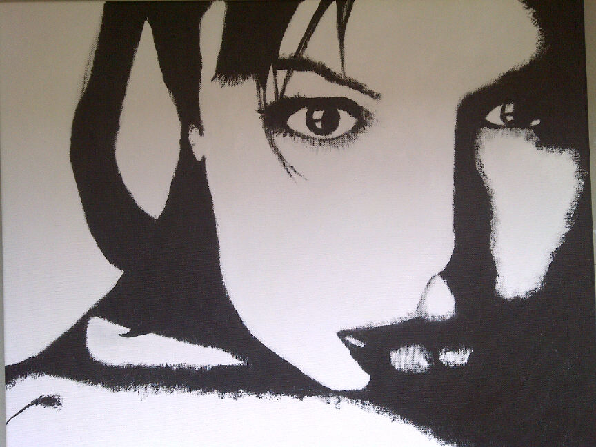 angelina jolie black and white acrylic painting by