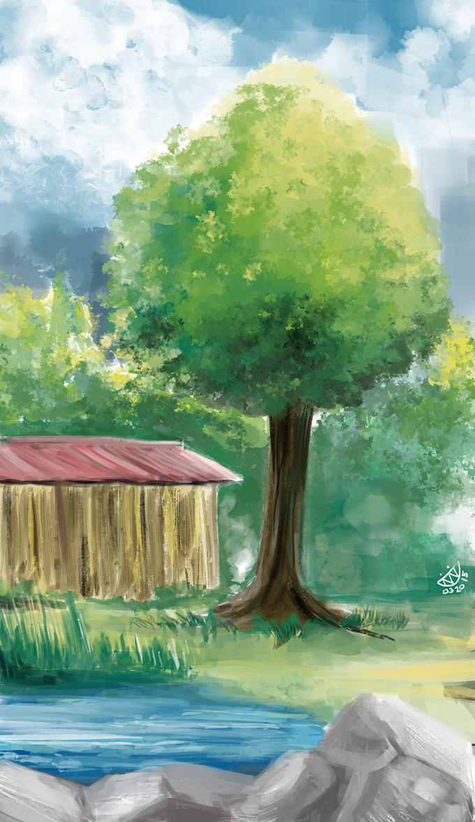 Red Barn With Tree by evanlai