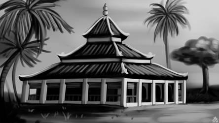 Traditional Nusantaran Mosque Sketch