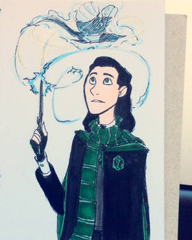 Inktober - Slytherin Loki and his magpie patronus