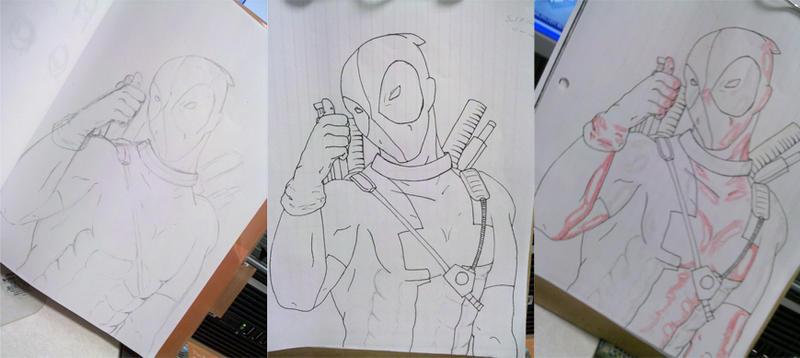 DeadPool WIP pencil, ink, hl