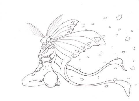 Moth Faerie Line Art