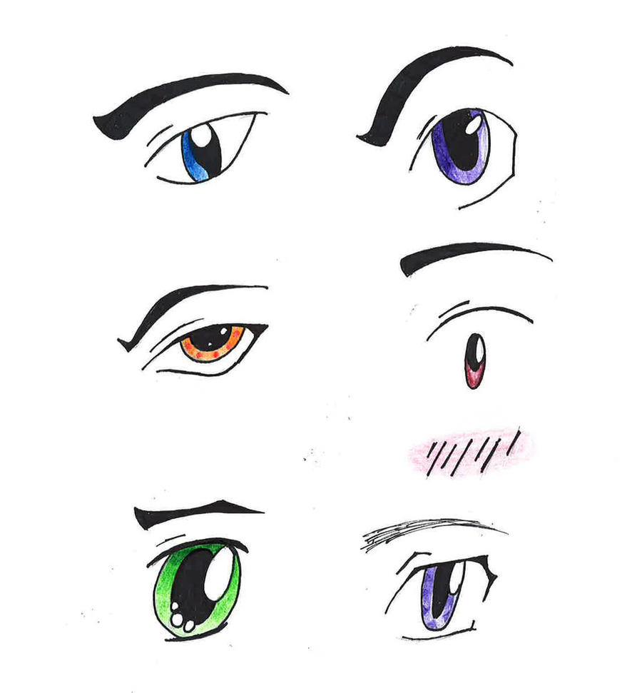 Happy Anime Male Eyes Coloring Pages