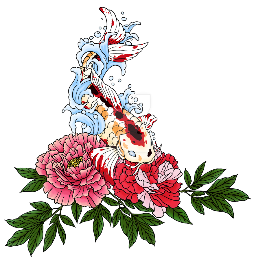 Koi Peony Tattoo - Colored by okaminoriley on DeviantArt