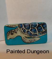 Sea Turtle Painted Dominoe / Domino Recycled Art