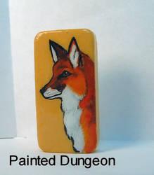 Red Fox Painted Dominoe / Domino Recycled Jewelry