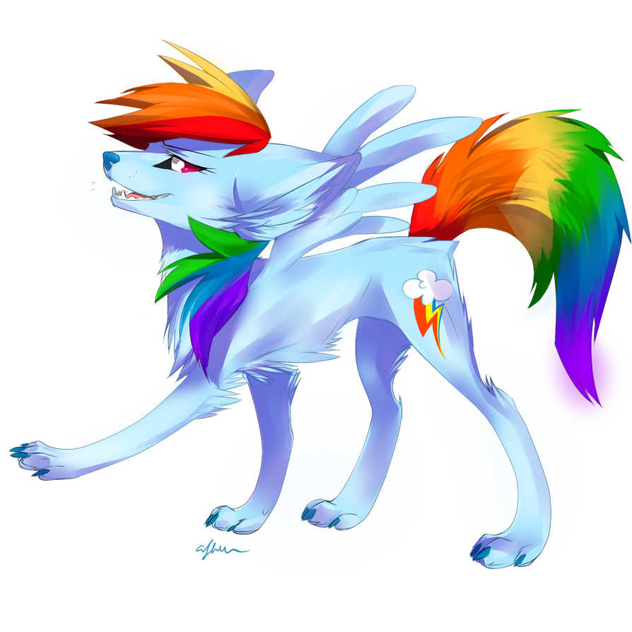 Wolf Rainbow dash by Affanita