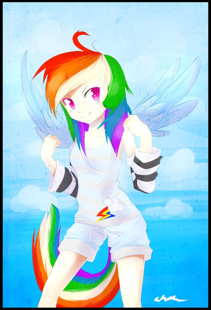 human rainbow dash remake by Affanita