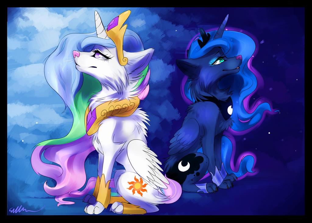 Princess Celestia And Princess Luna Wolf Version By ...