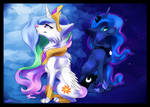 Princess Celestia and Princess Luna wolf version