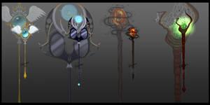 [closed] Magical Staffs by IdunaHayaDesigns