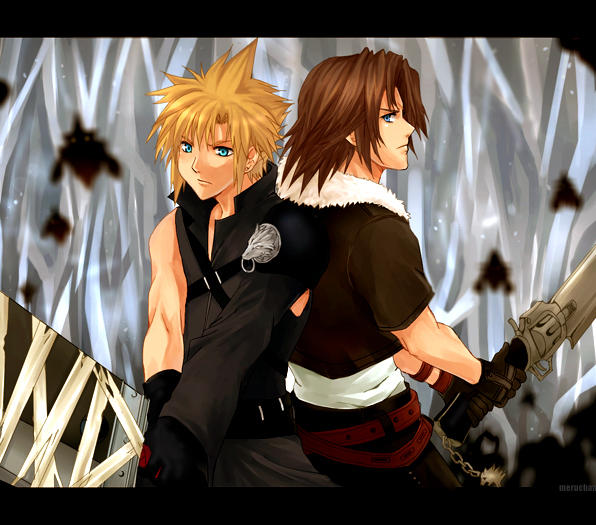 Squall Leonheart alias Leon KH2__Cloud_and_Leon_by_meru_chan