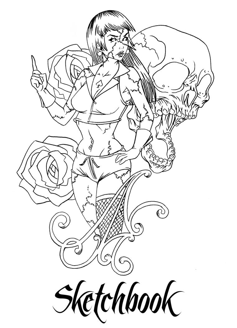 Zombie Pin Up Coloring Pages