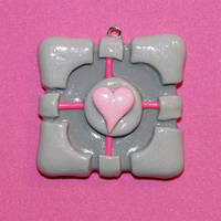 Companion Cube Flat Necklace