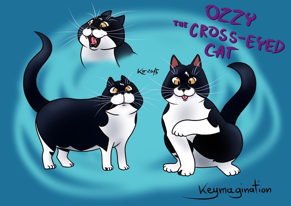 Ozzy the cross-eyed cat 2015 by Keymagination