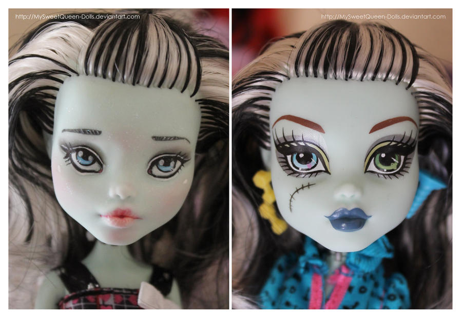 Repainting VS Factory Makeup: Frankie Stein by MySweetQueen-Dolls